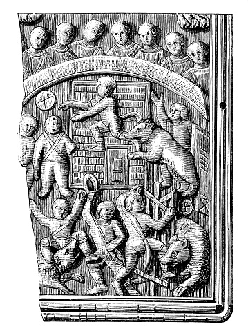 Barbarian prisoners are being torn by bears ,Circus scene on the poster board of the Areobindus consul diptych