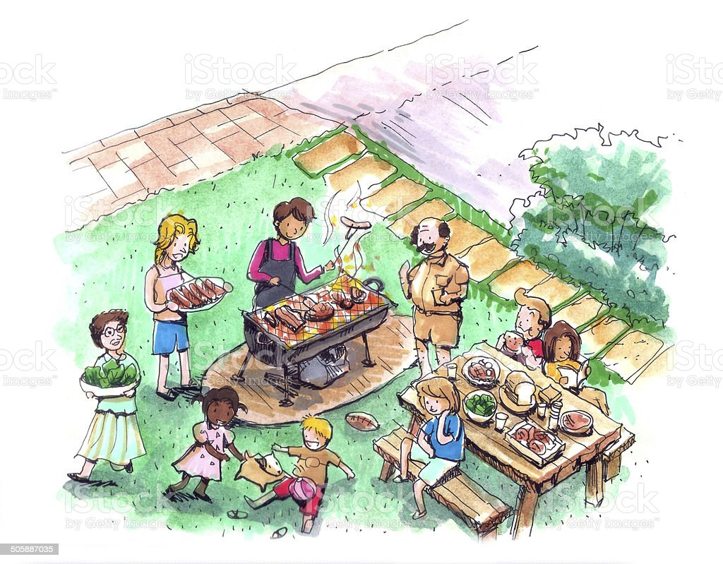 Barbecue party at the yard illustration vector art illustration