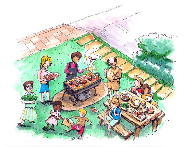 barbecue party at the yard illustration - family 4th of july 幅插畫檔、美工圖案、卡通及圖標