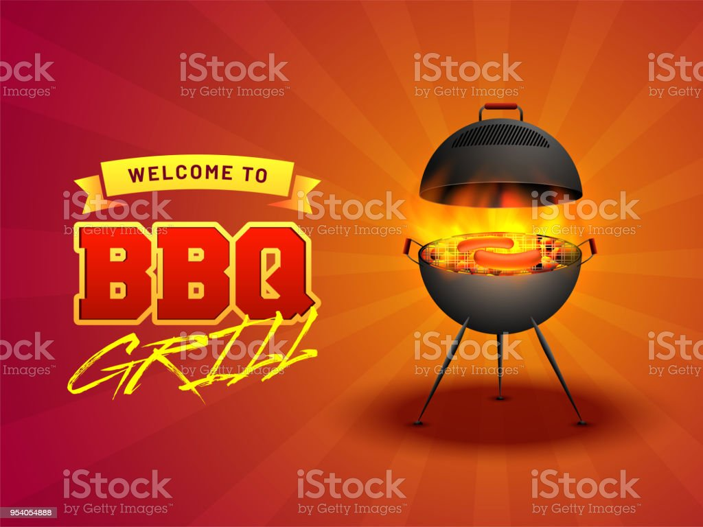 barbecue poster flyer template or invitation design stock vector art