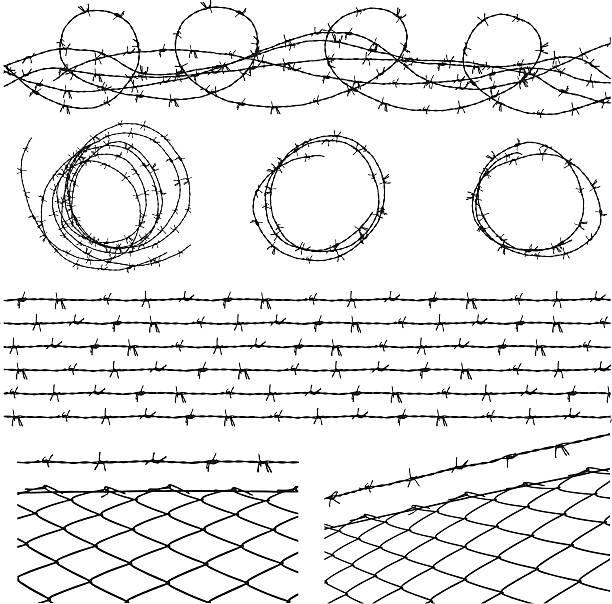 stockillustraties, clipart, cartoons en iconen met barbed wire elements - fence
