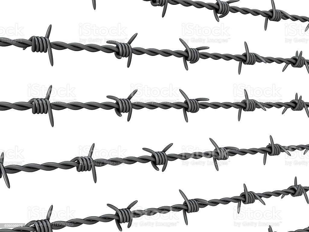 Barbed wire on white stock vector art istock