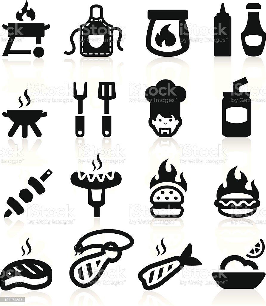 Barbeque icons set elegant series vector art illustration