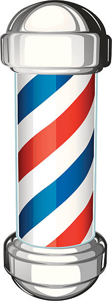 barber shop pole vector art illustration