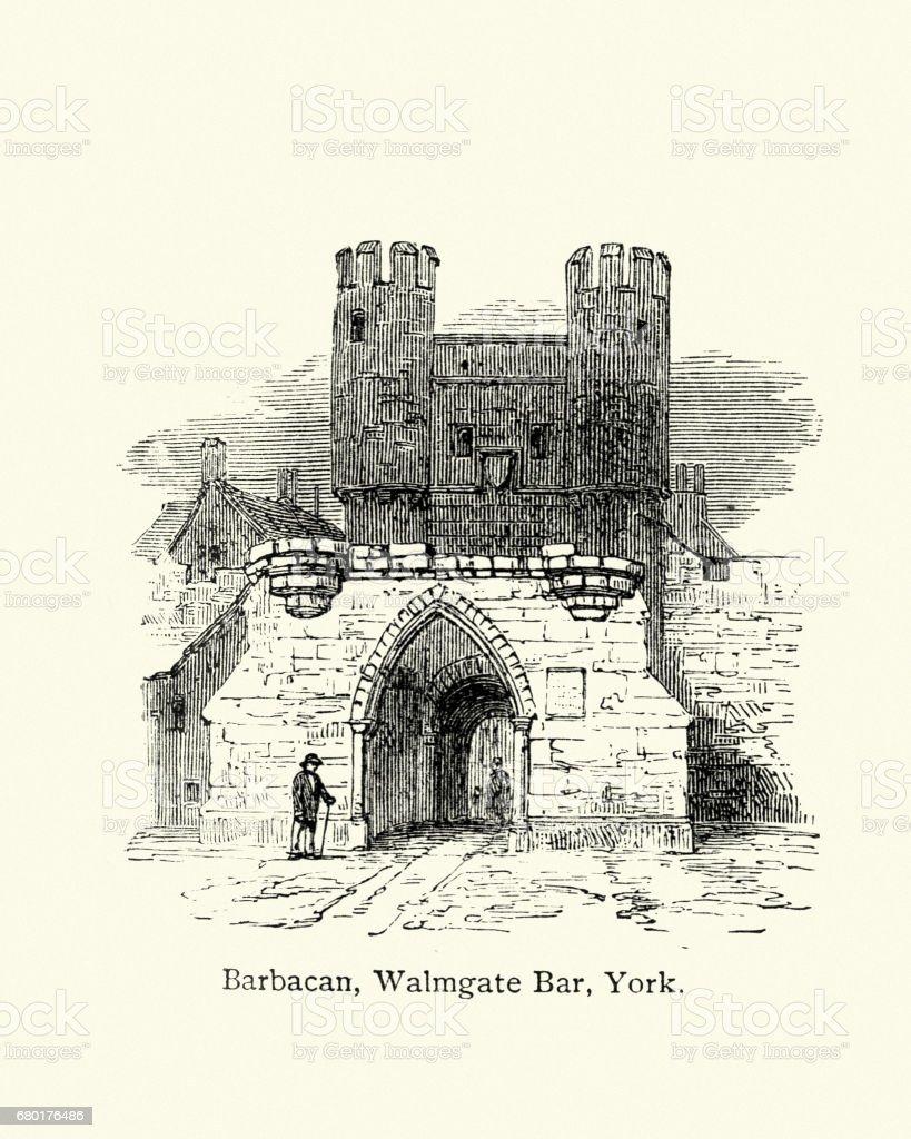 Barbican, Walmgate Bar, York, England vector art illustration