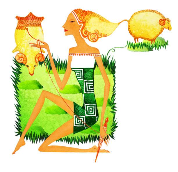 ilustrações de stock, clip art, desenhos animados e ícones de barefoot girl in the image of a cowherd boy, as a symbol of the sign of the zodiac of aries. - puxar cabelos