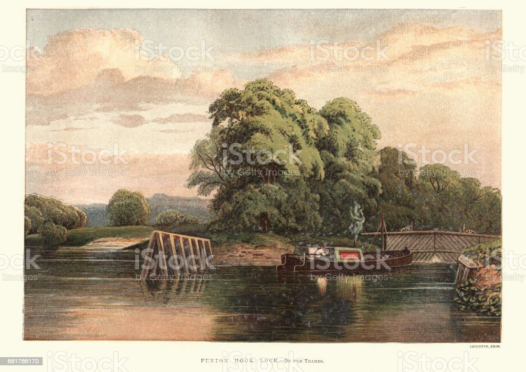 Barge at Penton Hook Lock, Thames, 19th Century vector art illustration