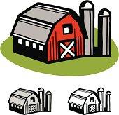 Barn and silos illustration