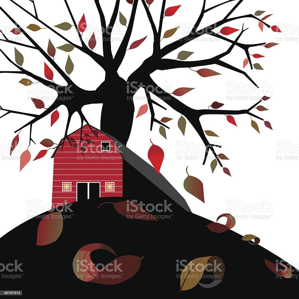 Barn in Autumn - Royalty-free Agricultural Field stock vector