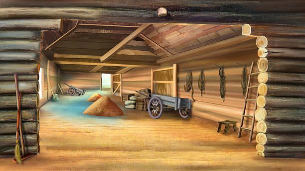 Barn With Grain Vector Art Illustration