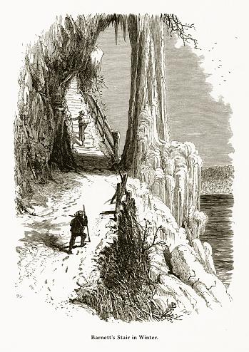 Barnett's Stair in Winter, Niagara Falls, New York, Niagara Falls, Ontario, American Victorian Engraving, 1872