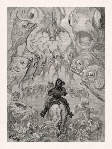 Baron Munchhausen by Gustave Doré vector art illustration