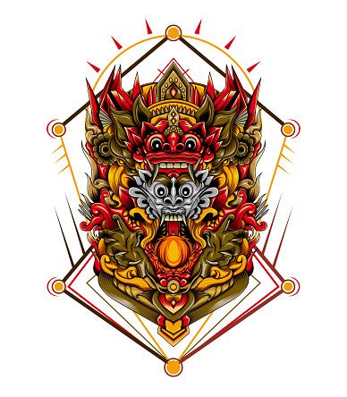 Barong mask illustration design print for t shirt, clothing, apparel