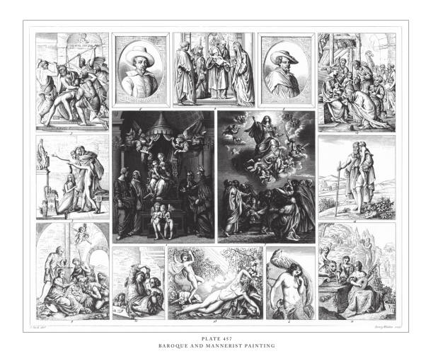 illustrazioni stock, clip art, cartoni animati e icone di tendenza di baroque and mannerist painting engraving antique illustration, published 1851 - ferragosto