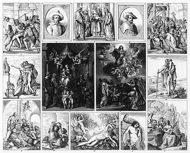 illustrazioni stock, clip art, cartoni animati e icone di tendenza di barocco e pittura mannerist incisione - ferragosto
