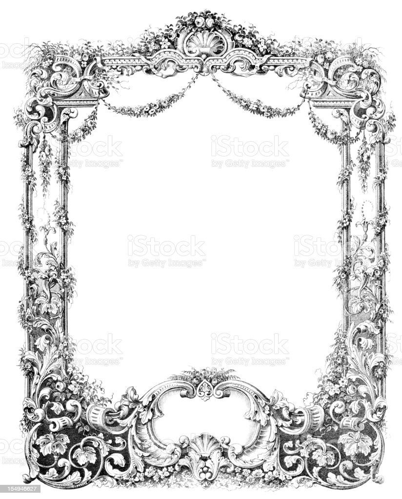 Baroque frame from historic book germany 1859 stock vector art baroque frame from historic book germany 1859 royalty free baroque frame from historic book jeuxipadfo Gallery