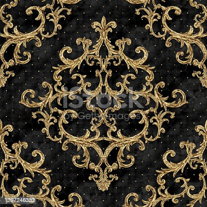 istock Baroque golden elements seamless pattern. Gold texture 1297246332