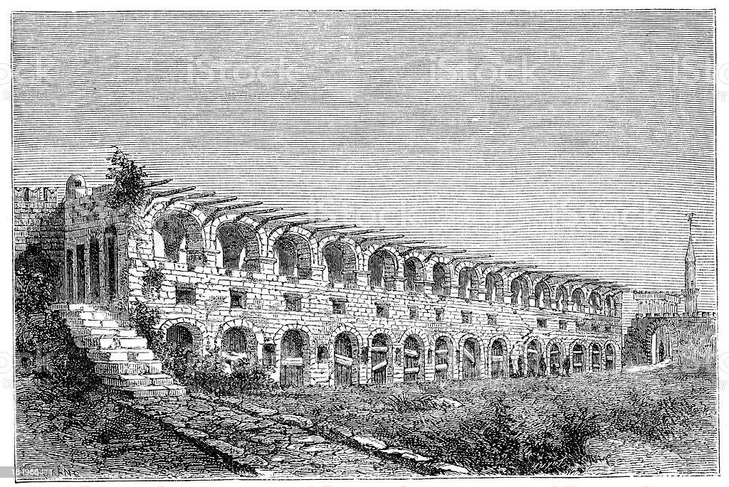 Barracks - the Knights of Rhodes vector art illustration