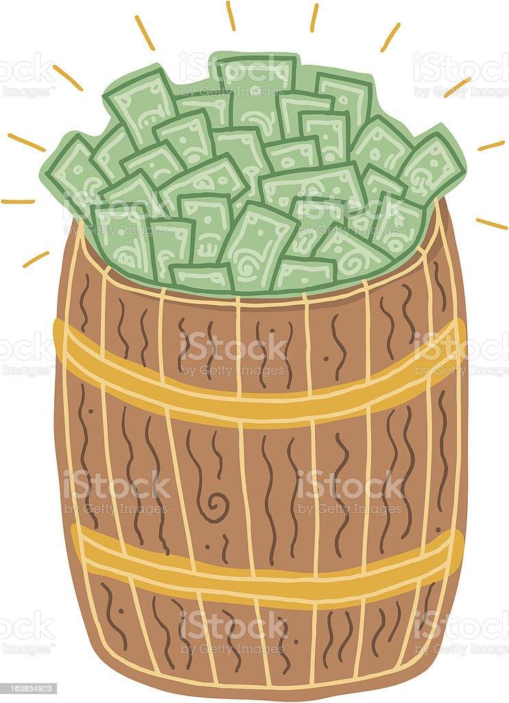 Barrel o' Money vector art illustration