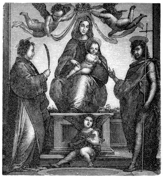 Bartholomew, Madonna with the child in the throne and saints Bartholomew, Madonna with the child in the throne and saints friar stock illustrations