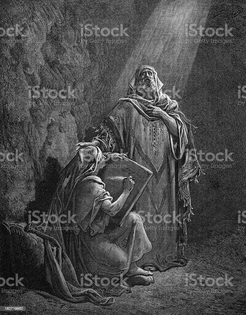 Baruch and the prophecies of Jeremiah vector art illustration