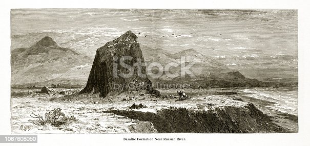 Very Rare, Beautifully Illustrated Antique Engraving of Basaltic formation Near the Russian River on the Coast of California, United States, American Victorian Engraving, 1872.