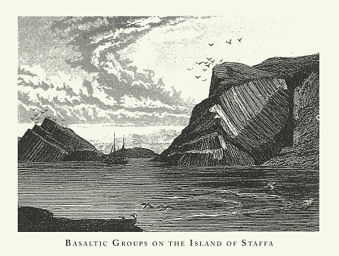 Basaltic Groups on the Island of Staffa, Notable Geological Formations Engraving Antique Illustration, Published 1851