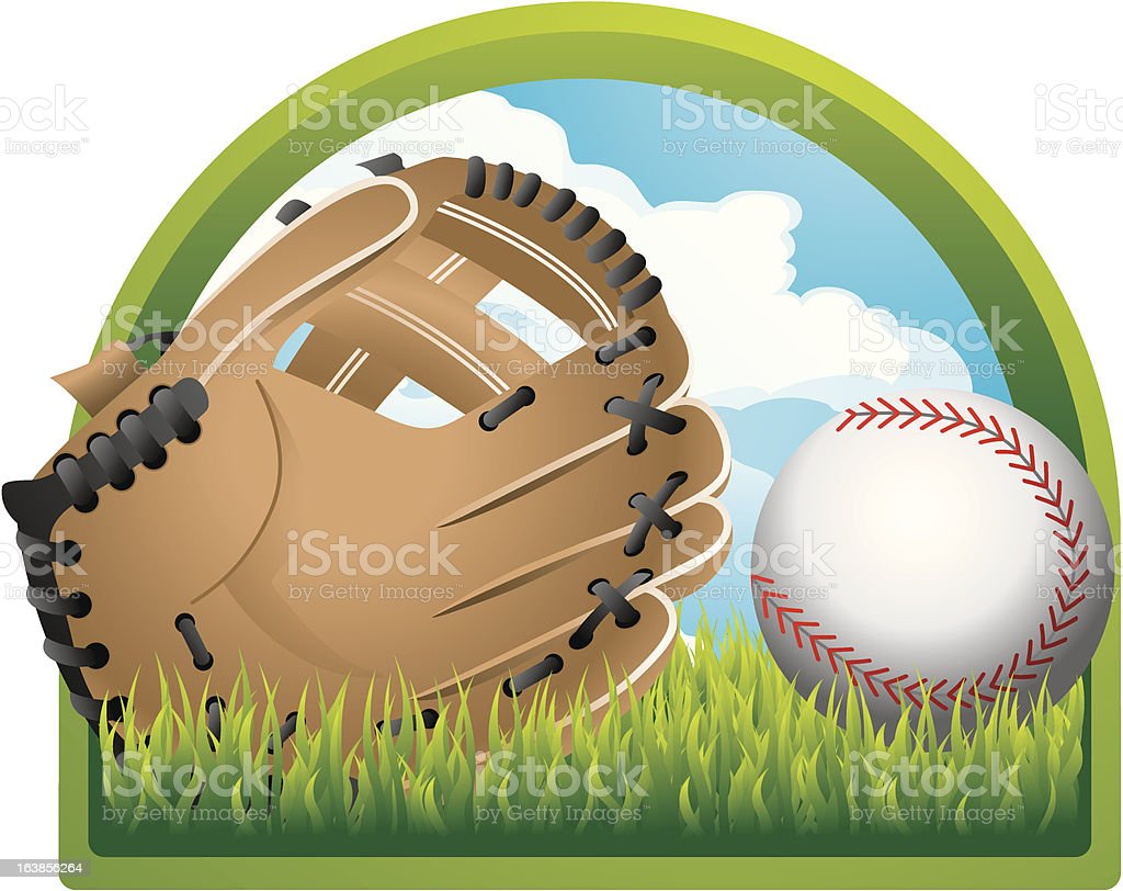 Baseball and glove on the field. royalty-free stock vector art