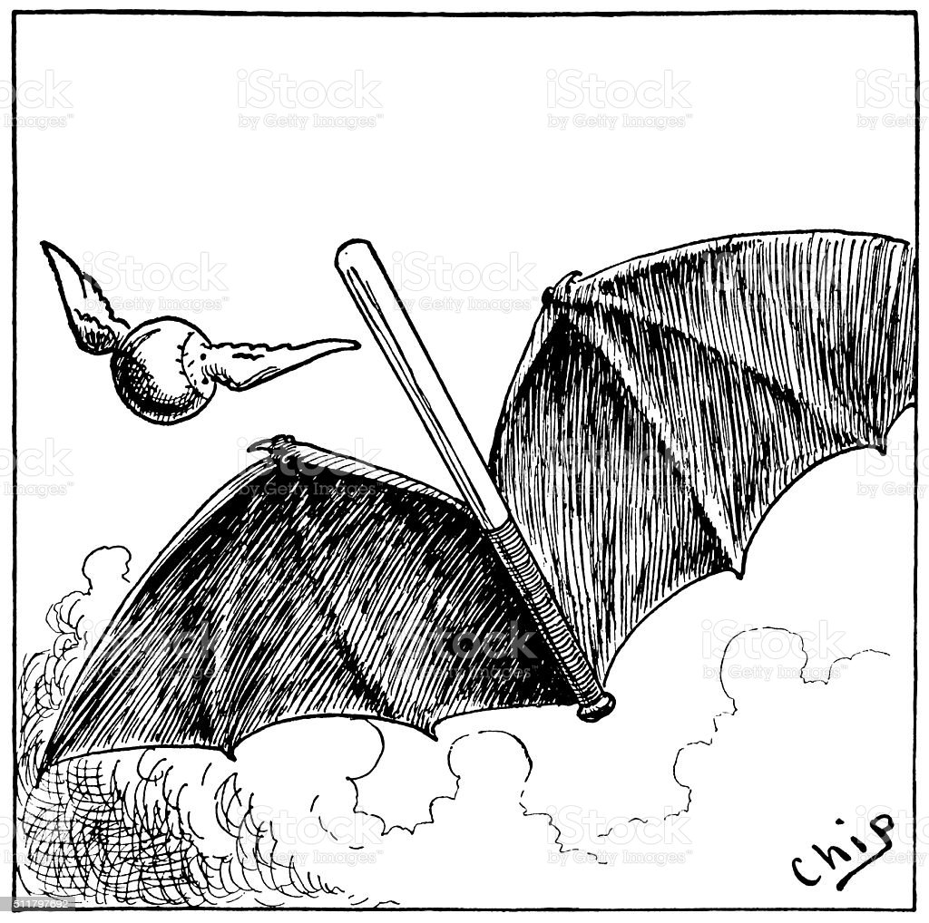 A baseball bat with wings and in flight alongside a ball. From...
