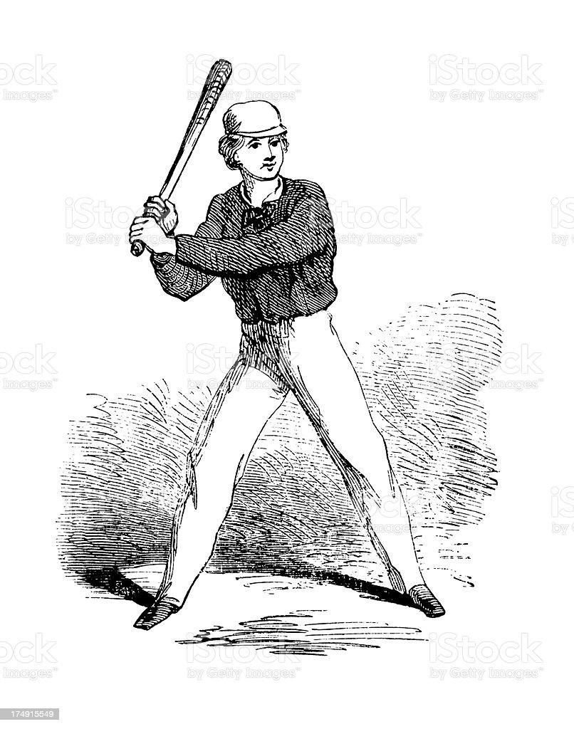 Baseball batter | Antique Sports Illustrations royalty-free stock vector art