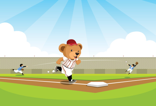 Baseball bear running to base