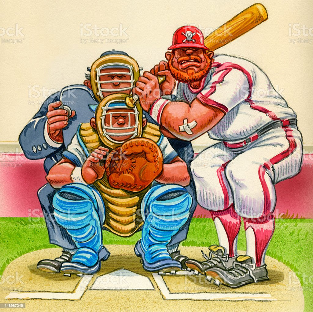 Baseball Cartoon - Batter, Catcher and Umpire at Home Plate royalty-free stock vector art