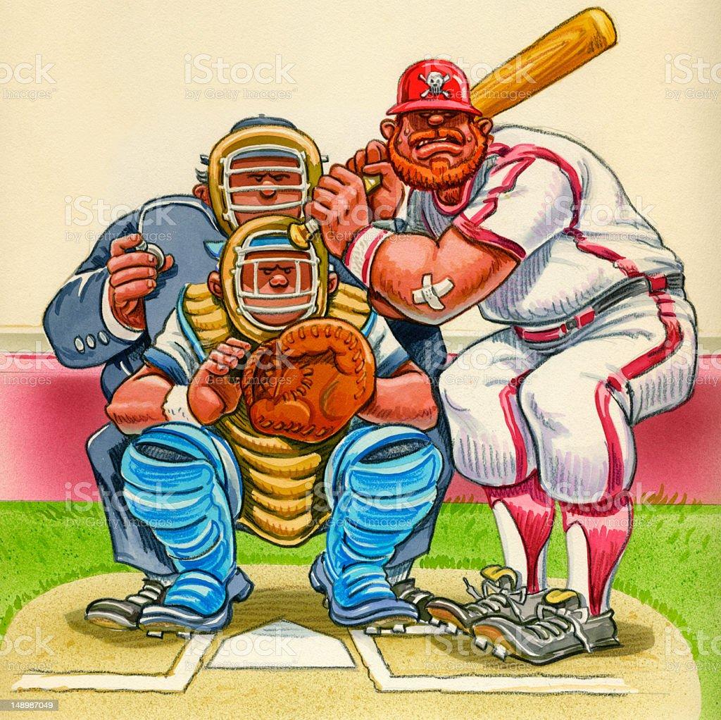Baseball Cartoon Batter Catcher And Umpire At Home Plate Stock