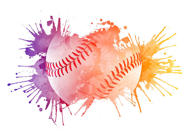 a baseball design with colorful paint - softball stock illustrations, clip art, cartoons, & icons