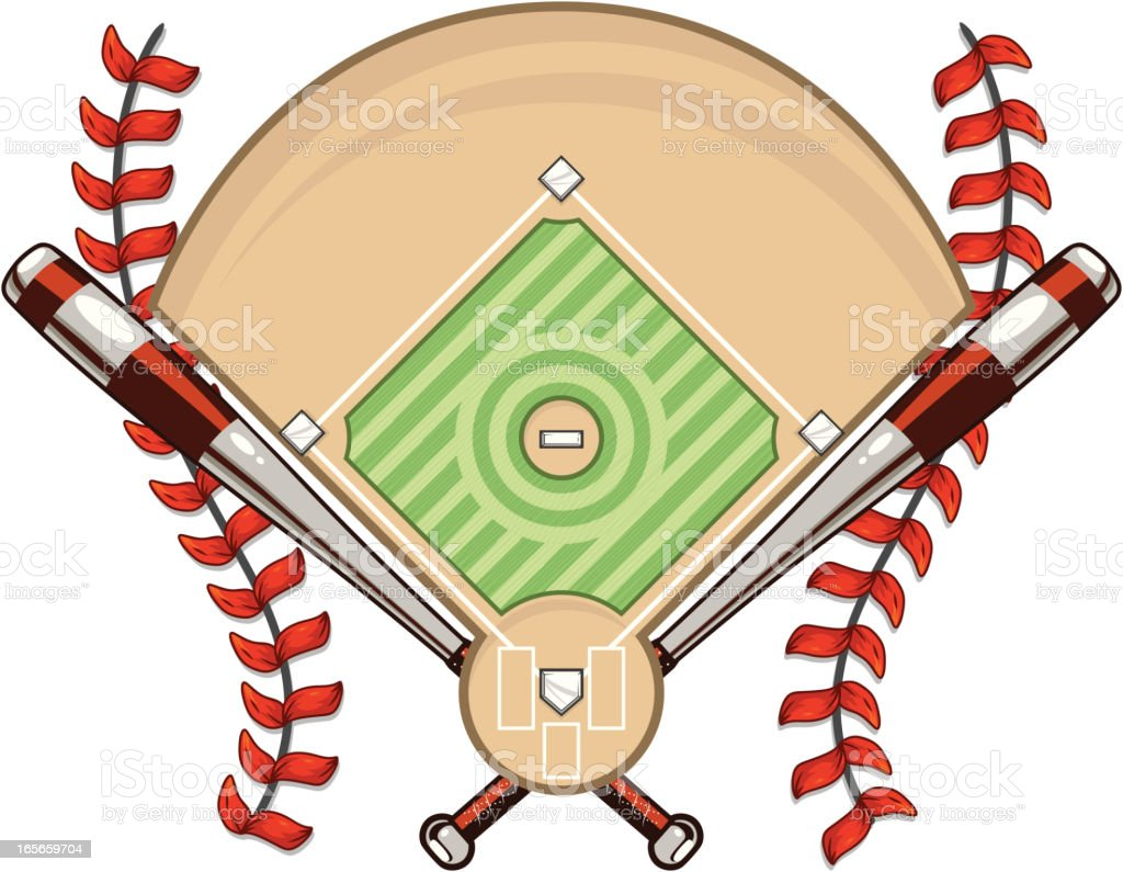 Baseball Diamond with Bats and Laces royalty-free stock vector art