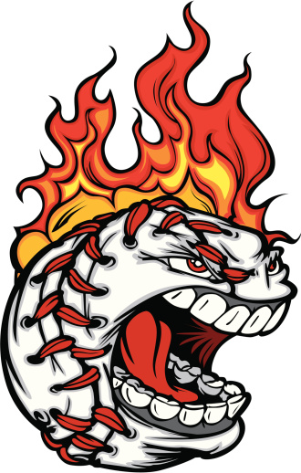 Baseball Face with Flaming Hair Vector Image