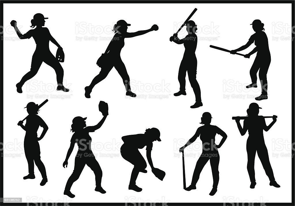Chica de béisbol - ilustración de arte vectorial