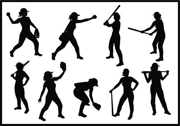 Baseball Girl vector art illustration