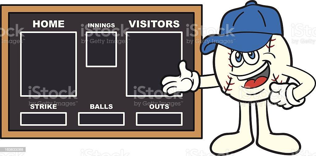 Baseball Mascot Showing Scoreboard vector art illustration