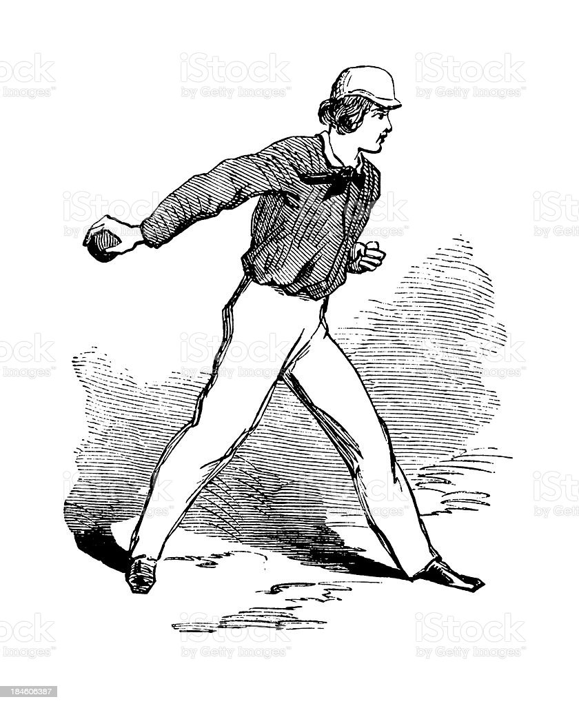 Baseball pitcher | Antique Sports Illustrations royalty-free stock vector art
