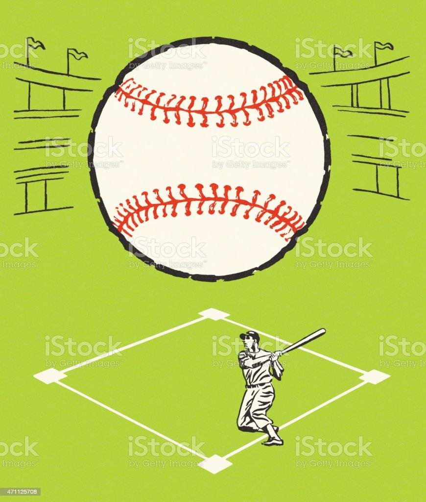 Baseball Player and Ball vector art illustration