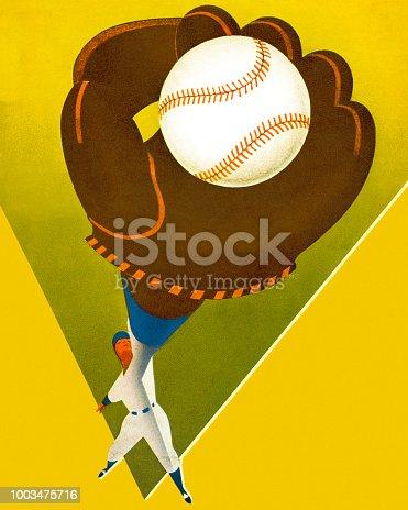 Baseball Player Catching a Baseball