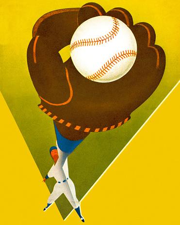 Baseball Player Catching a Baseball