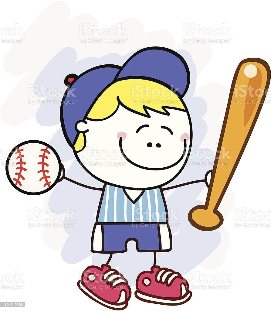 野球選手かわいい子供漫画イラスト - いたずら書きのベクターアート素材