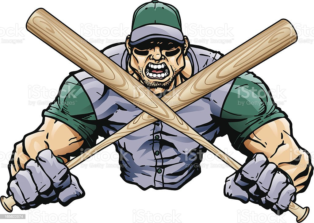 Baseball Player with Bats royalty-free stock vector art