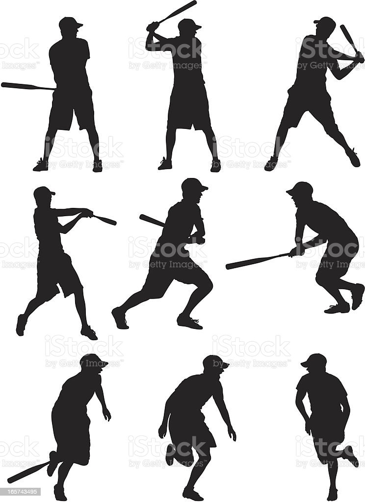 Baseball players in action royalty-free stock vector art