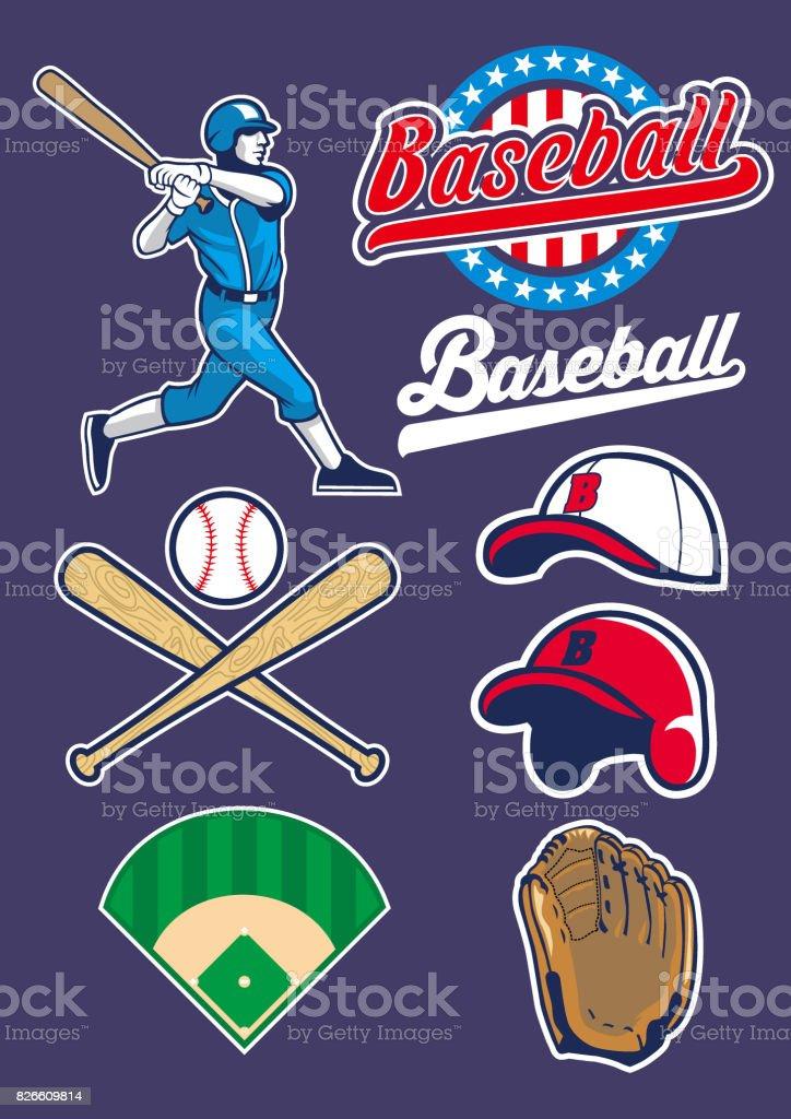 vector of baseball set