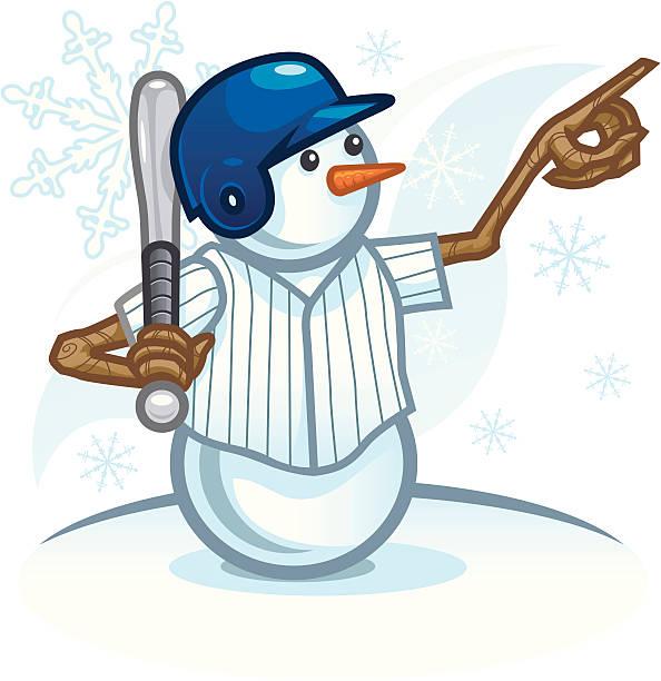 Baseball Snowman vector art illustration