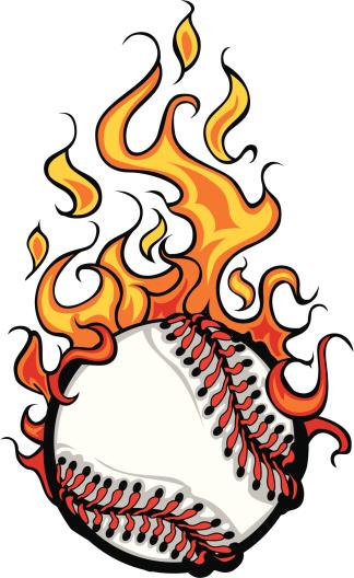 Baseball Softball Flaming Ball Vector Cartoon