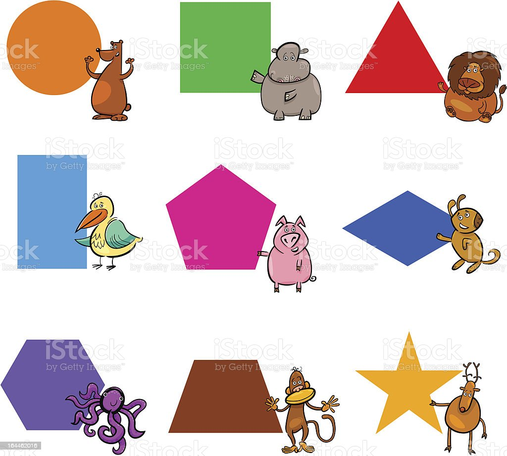 Basic Geometric Shapes with Cartoon Animals royalty-free stock vector art